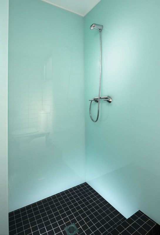 contemporary high gloss acrylic tiny home or houseboat shower wall panels