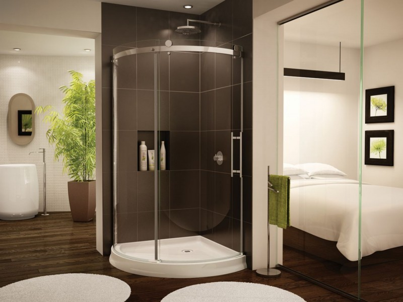 Sliding glass enclosure for a small 36 inch tiny home or houseboat shower