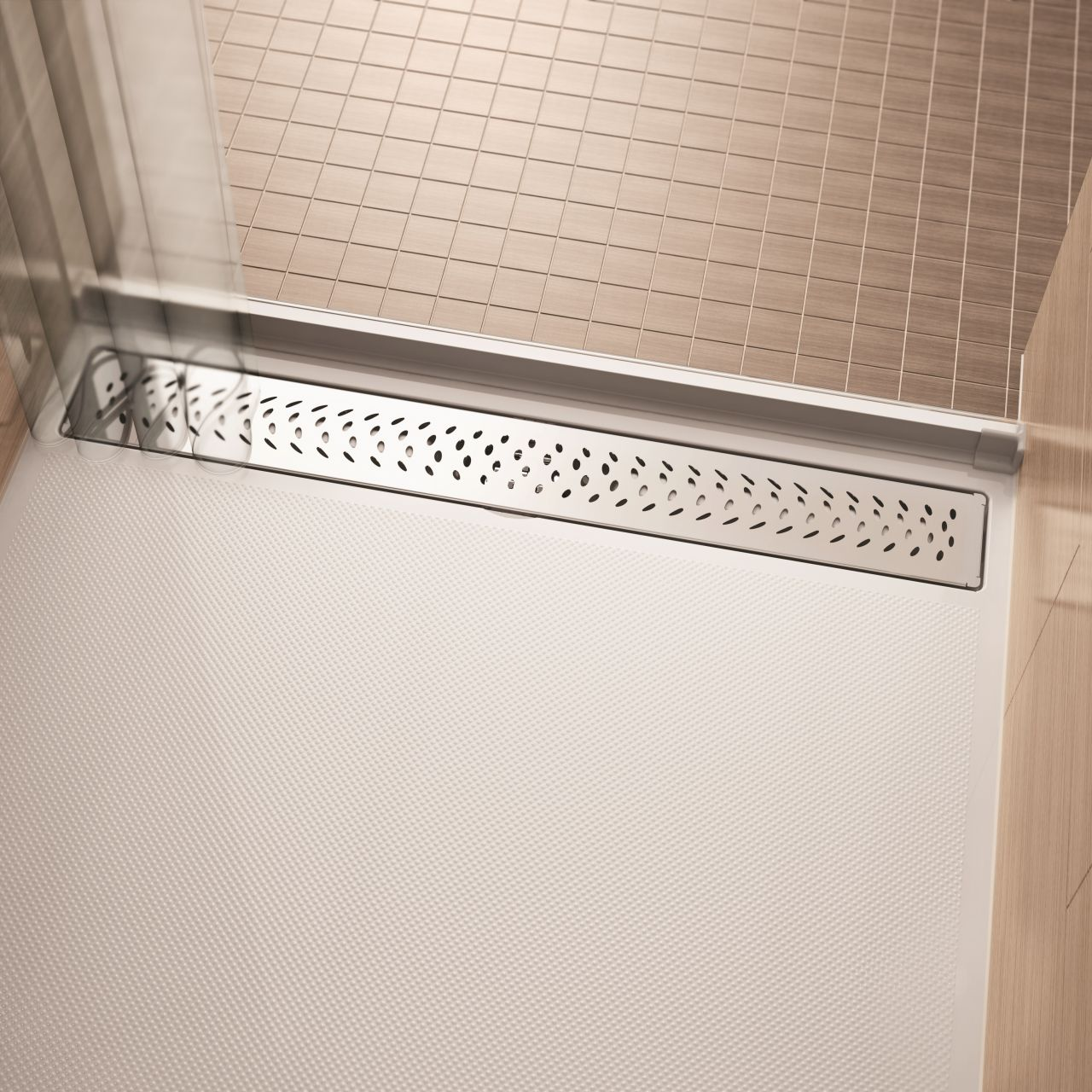 acrylic roll in shower pan with a water barrier strip | Innovate Building Solutions