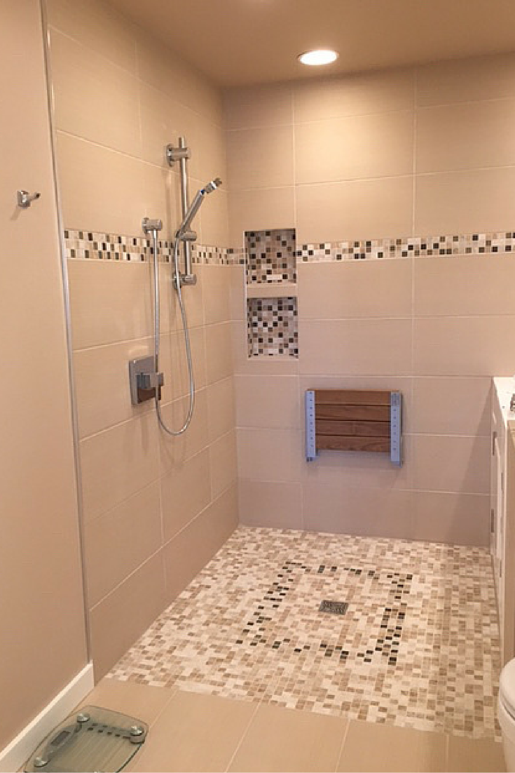 Doorless walk in tile shower