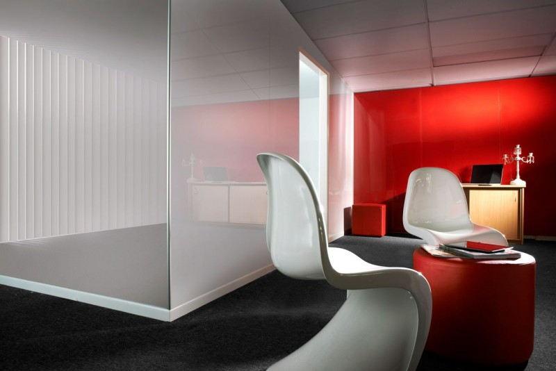 A fire engine red modern office feature wall really pops out