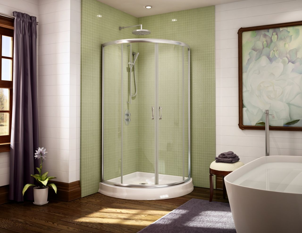 Amazing Unique Curved Acrylic Shower Base And Glass Enclosure System
