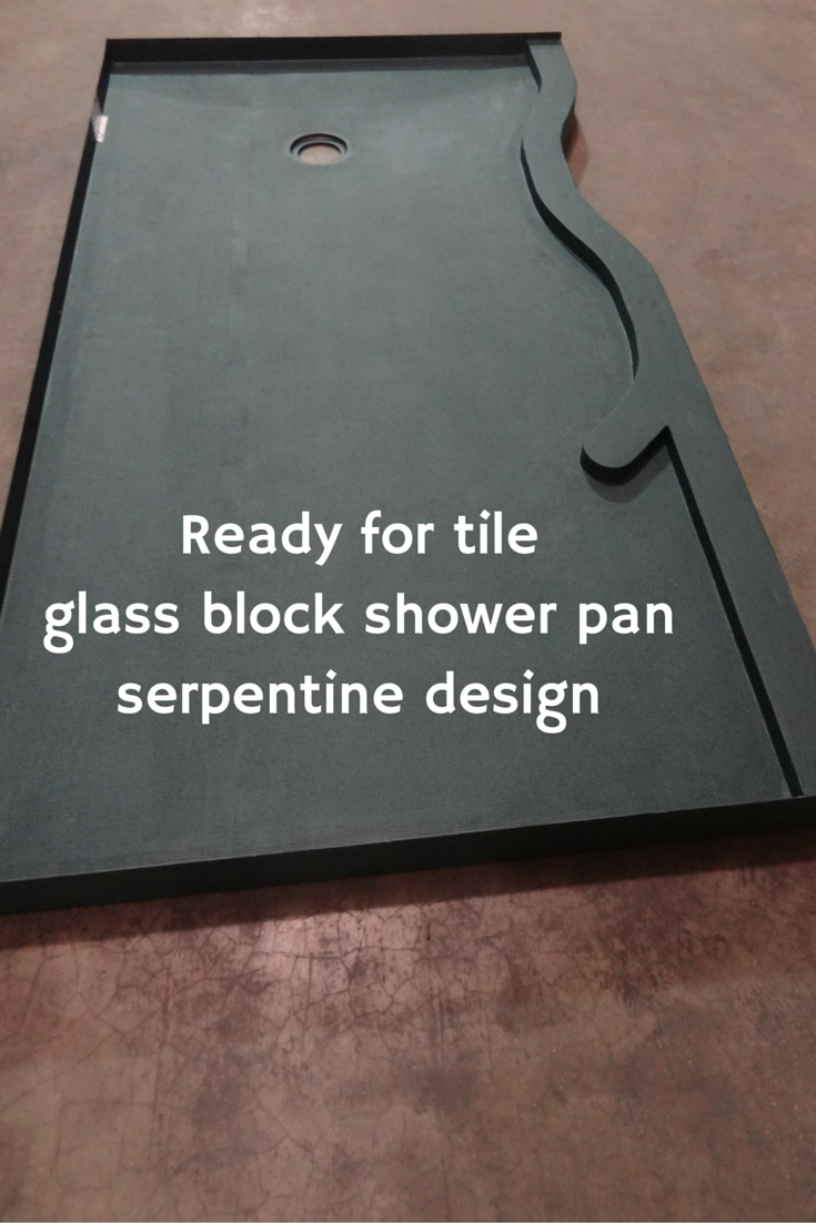 Ready for tileglass block shower pan in a serpentine design| Innovate Building Solutions
