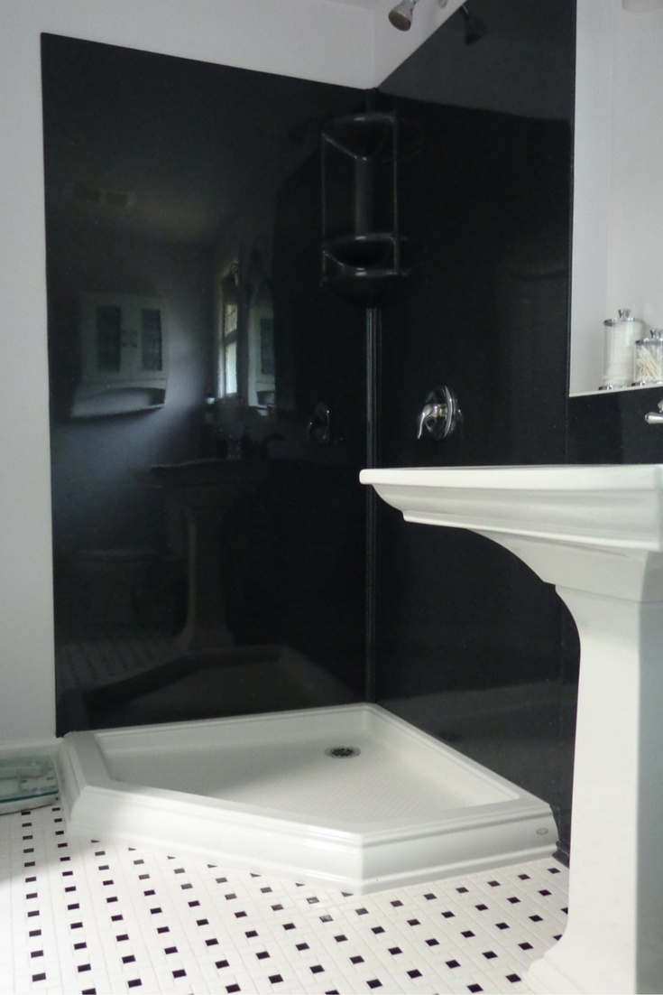 Black stone solid surface shower wall surround panels
