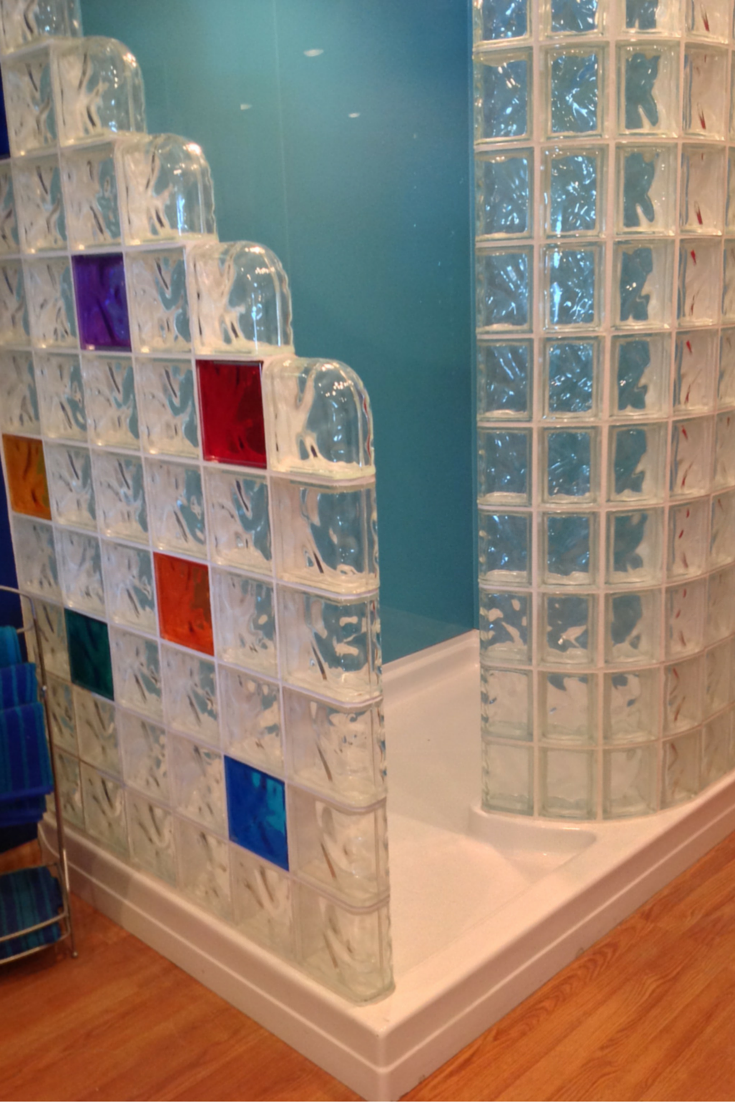Acrylic glass block shower pan 72 x 51 with colored glass block prefabricated walls