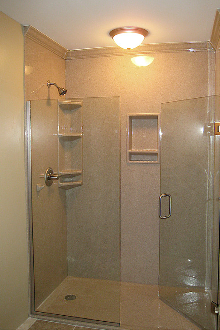 Stone solid surface crown molding in DIY shower wall panel system