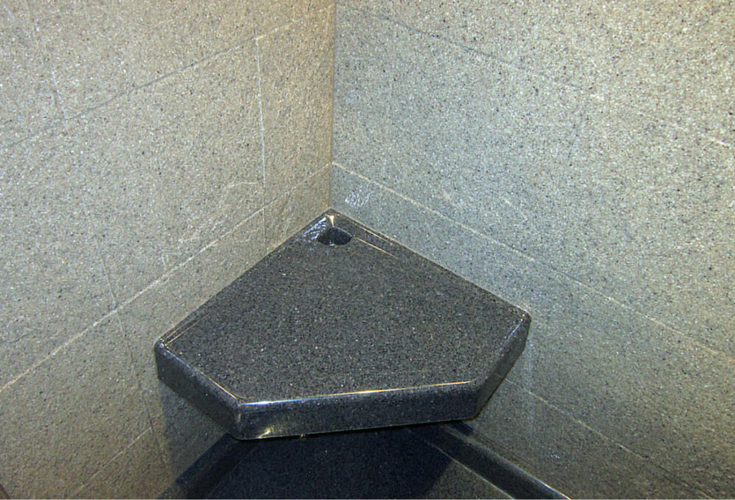 Corner seat made of stone solid surface