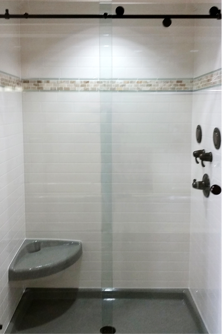Traditional Subway Tile Shower Wall Panel Sytem Made Out Of Stone Solid  Surface