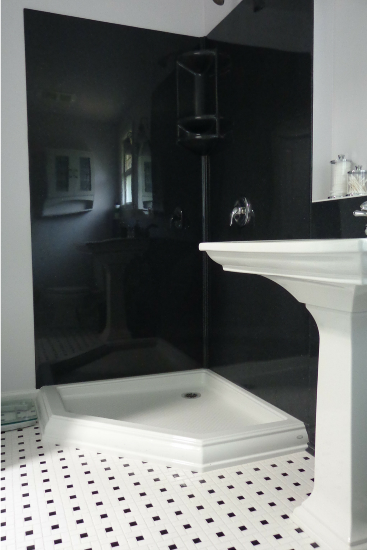 Smooth black stone solid surface waterproof shower wall panels