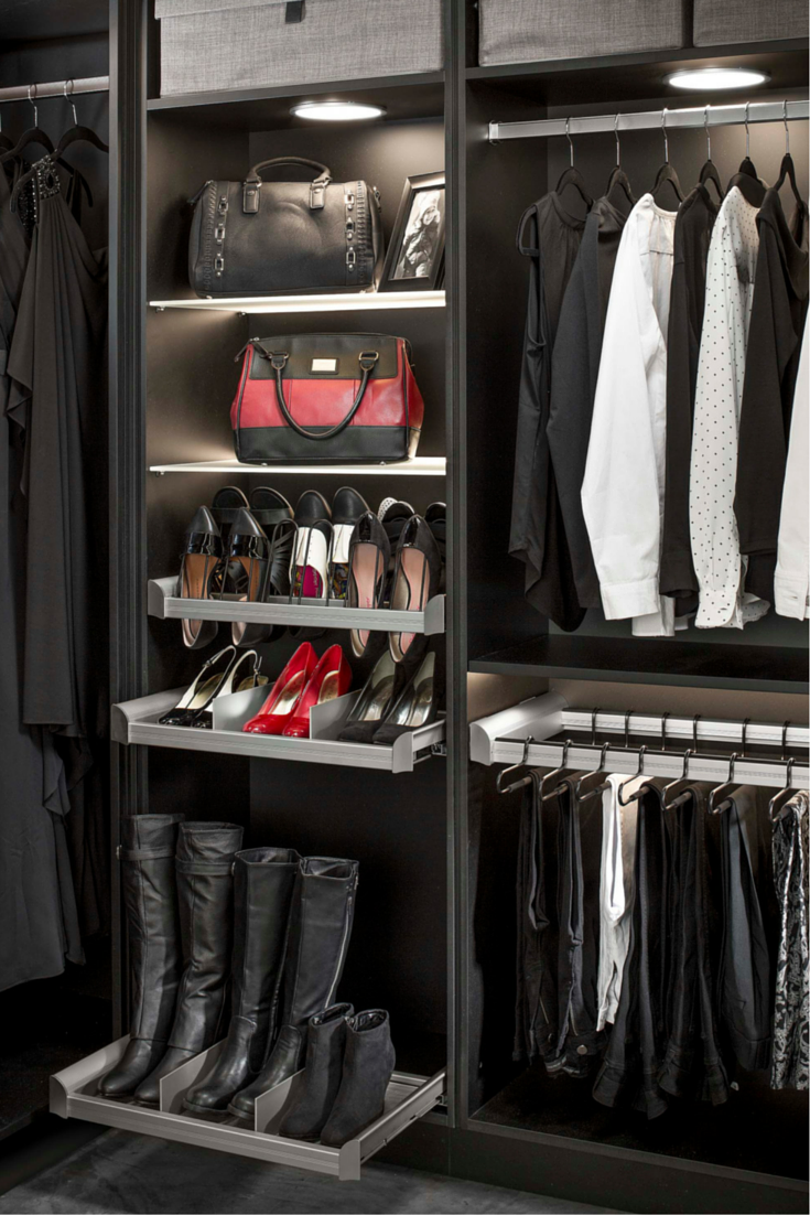 Closet high boot storage with a pull out drawer from Hafele