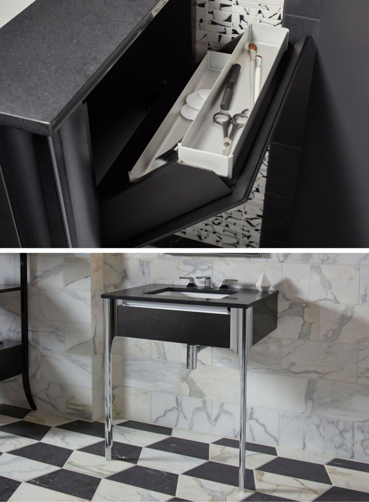 Hidden compartment storage in a small luxury bathroom vanity Balletto series by Robern