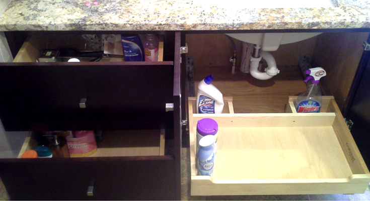 pull out drawers make this bathroom ergonimically friendly