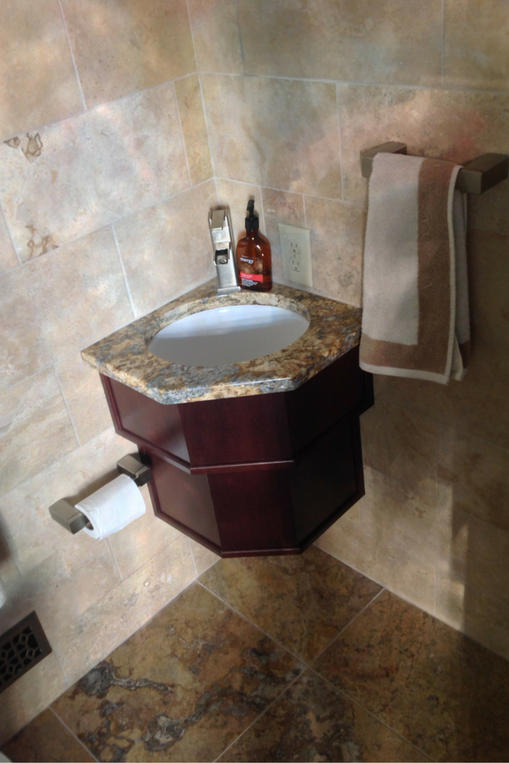 A Custom Built Small Bathroom Vanity And Sink For Handwashing In A Small Columbus Ohio Bathroom