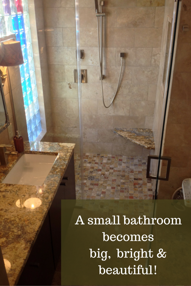 Small columbus ohio bathroom remodel with a colored glass - Small bathroom remodel with tub ...