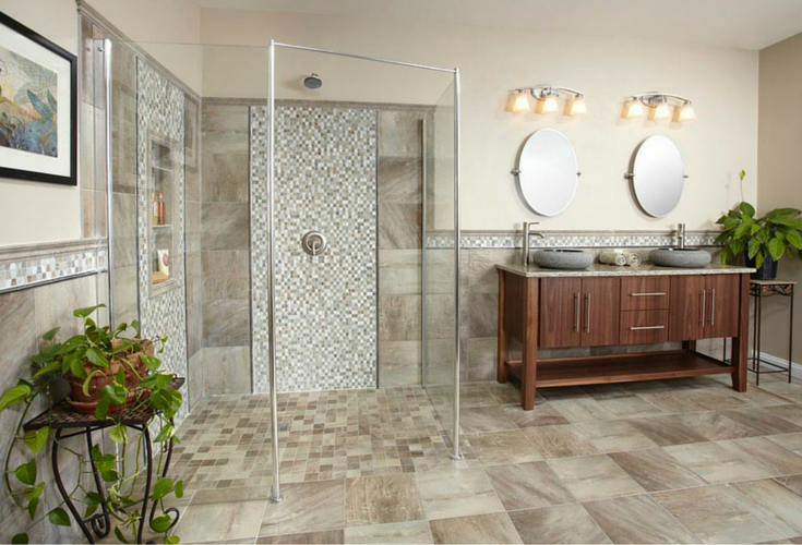 One level bathroom for safety for active adults | Innovate Building Solutions