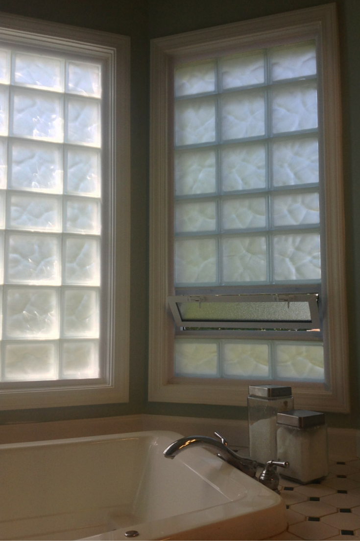 Frosted glass block window for more light and privacy in a bathroom