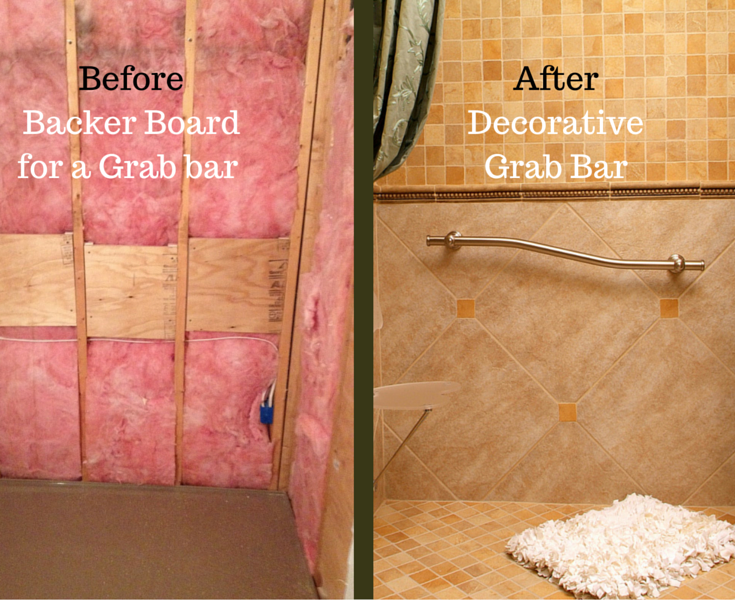 Backer board installed before putting up a decorative grab bar in Cleveland remodeling project