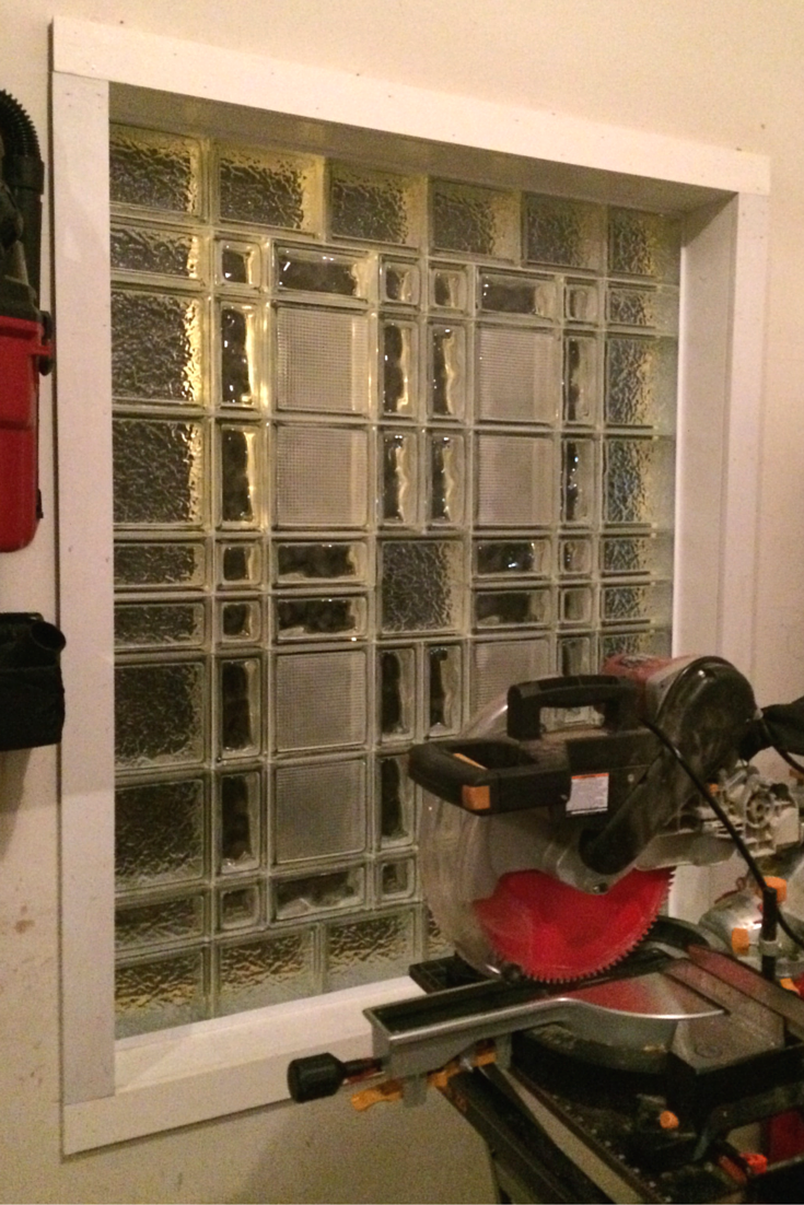 Inside of a unique glass block garage window design with Essex Icescapes and Decora pattern glass blocks