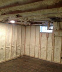 spray foam wall and ceiling insulation in a home in university heights ohio