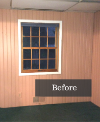 An existing double hung window to be replaced in University Heights for a Sliding Glass Door
