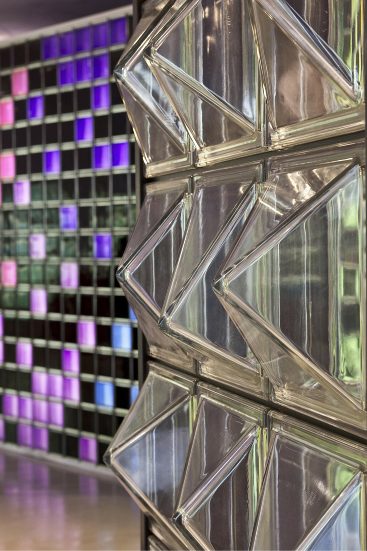 Contemporary And Colored Glass Block Designs For Walls And