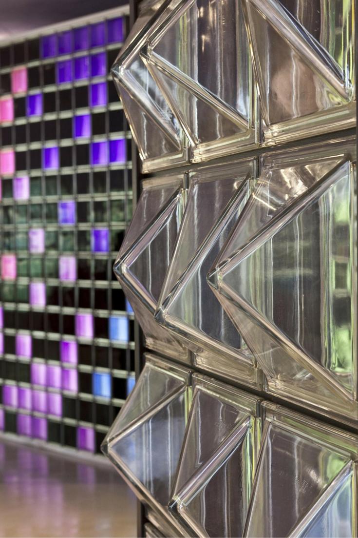 3D textured modern glass block partition wall