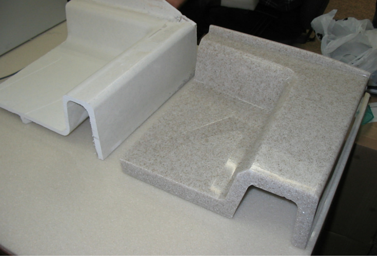 Solid surface shower pans are much thicker and stronger than fiberglass bases