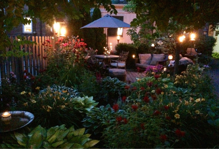 Nightime view of a garden in university heights ohio