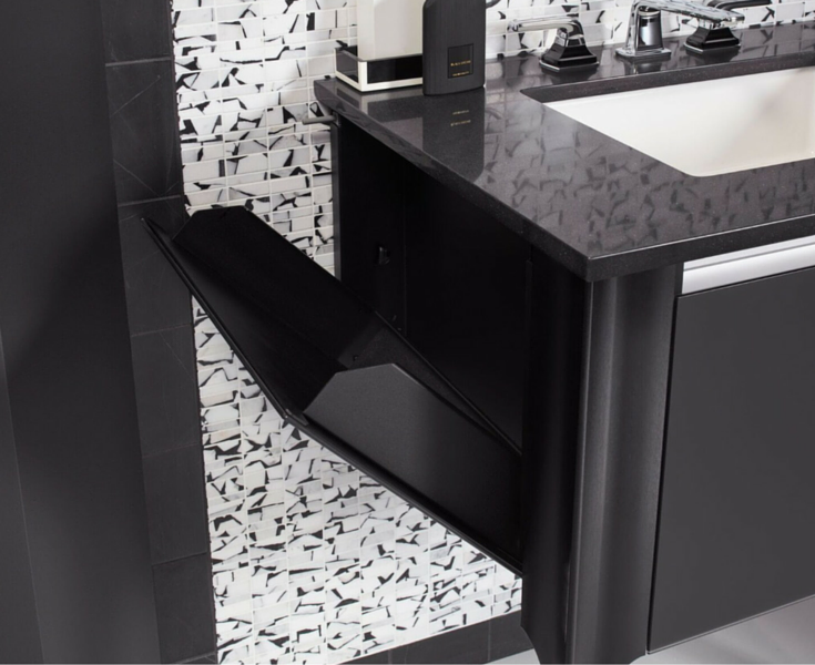 Pull down storage drawer in a contemporary wall mounted bathroom vanity by Robern