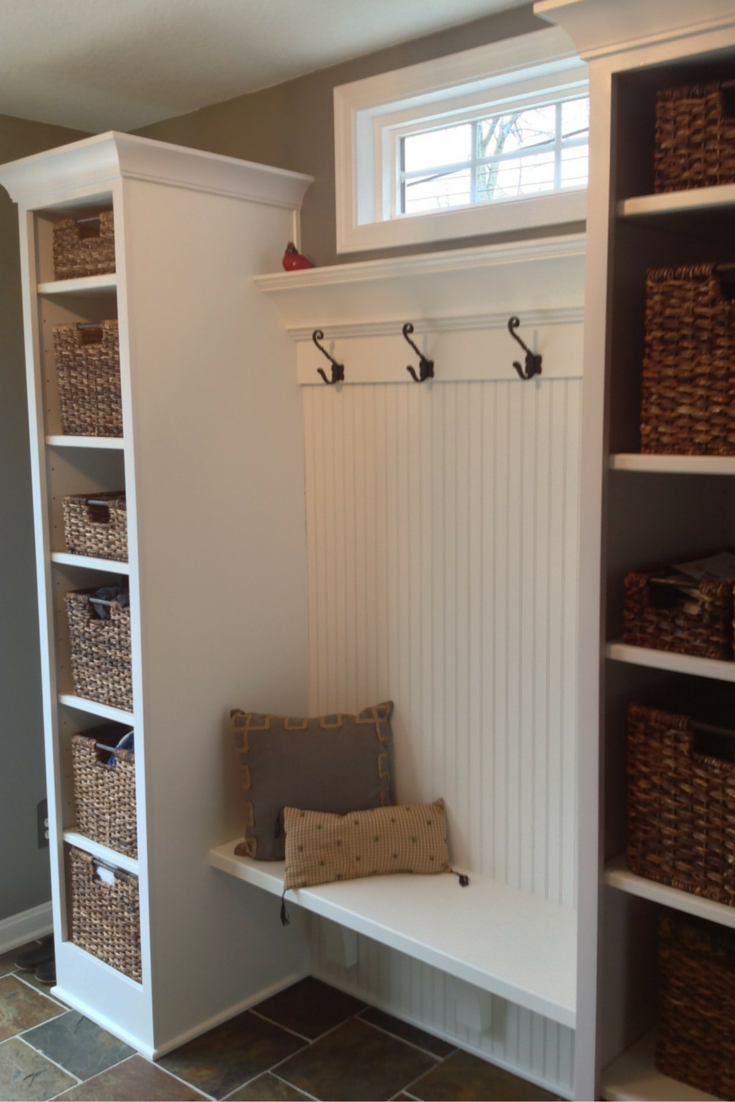 Custom entryway mudroom cabinets in University Heights Ohio a suburb of Cleveland
