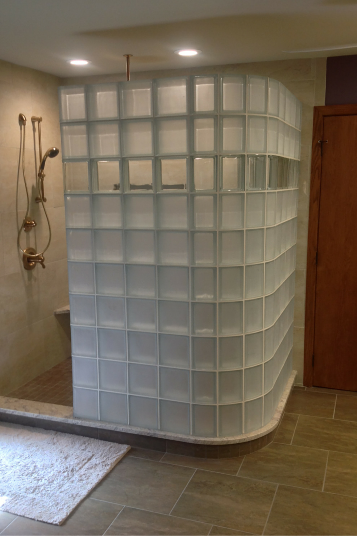 glass block shower in columbus with high privacy frosted glass blocks and a clear row to see through