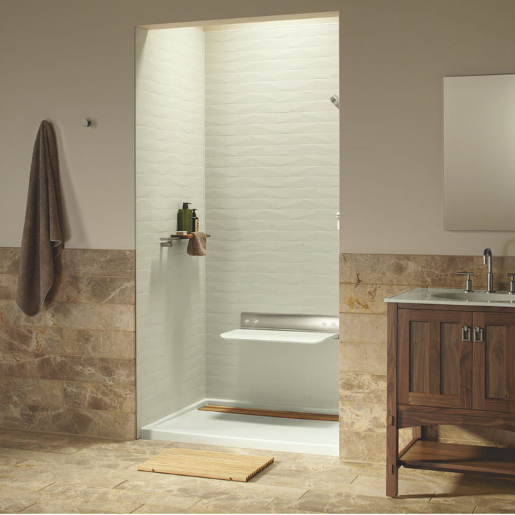 48 x 36 brick patterned shower wall kit for a contemporary bathroom