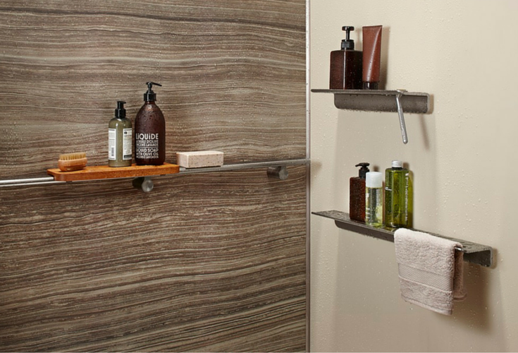 Floating shower shelves in an upscale wall panel system