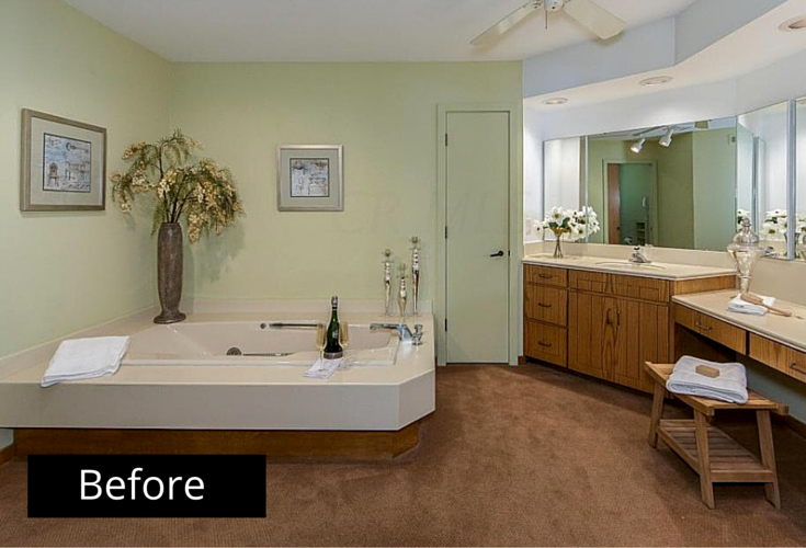 Dated Columbus Bathroom With A Large Jacuzzi Tub Before A Remodeling Project