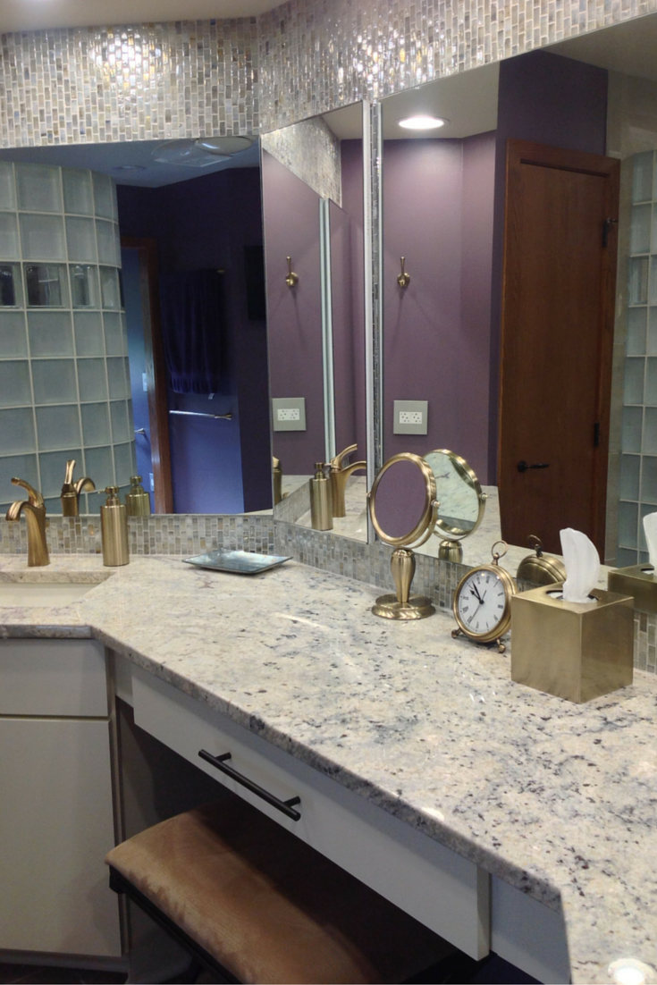 Sea glass tile backsplash in a columbus ohio remodeling project with a granite top
