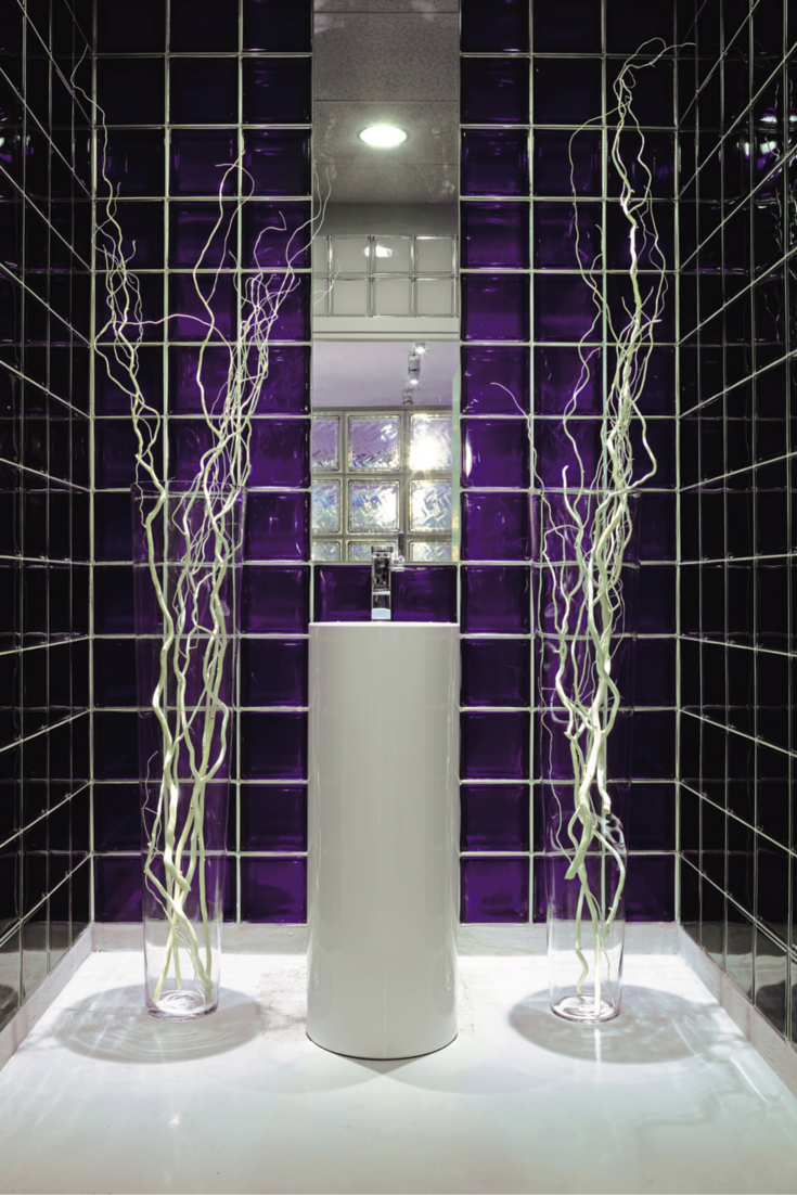 Purple color glass blocks in a modern shower