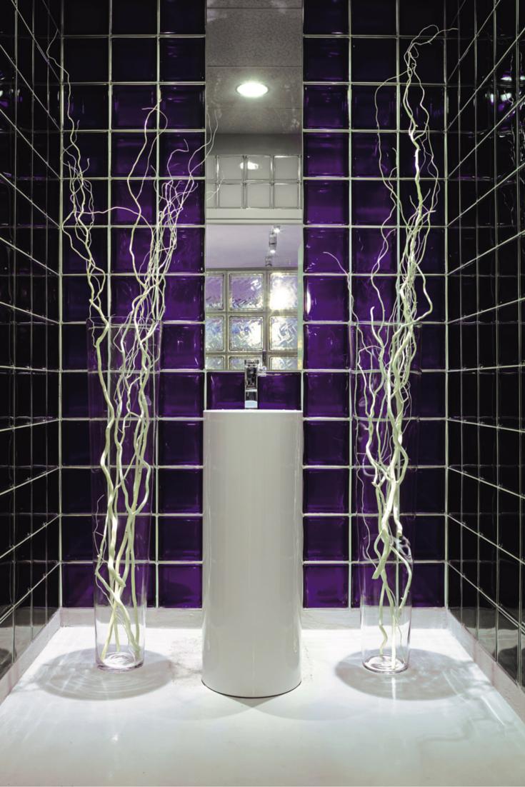 Purple color glass blocks in a modern shower