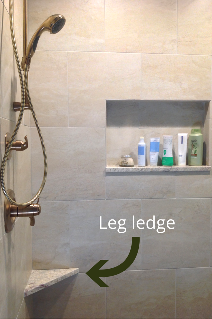 A shower leg ledge for shaving in a columbus ohio remodel