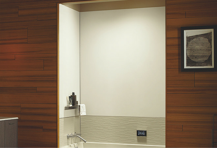Smooth and textured grout free solid surface tub wall panels in a modern bathroom