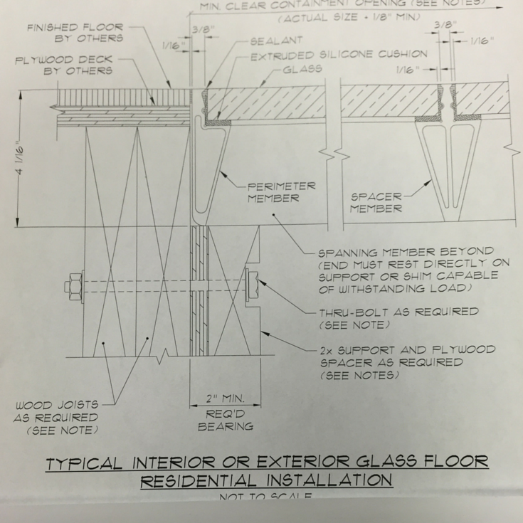 Architectural design details for a glass bridge or flooring system with aluminum support structure
