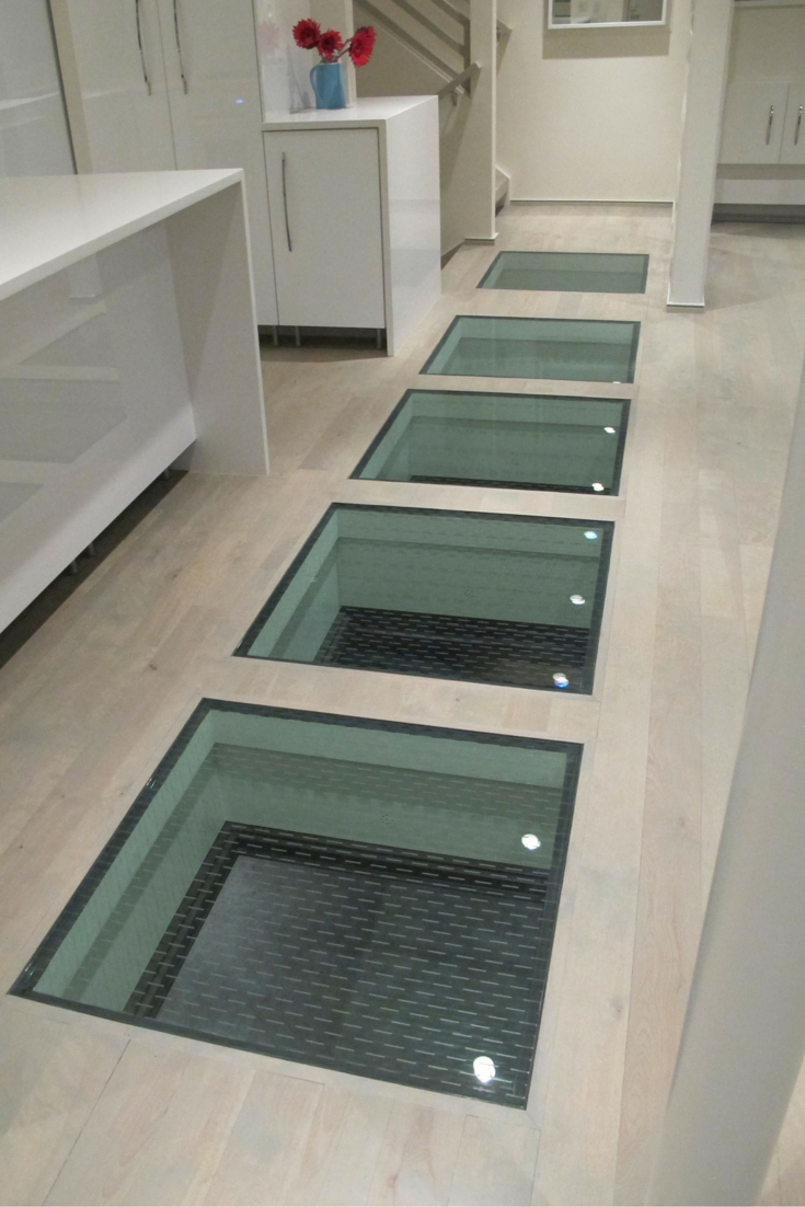 Standard laminated glass flooring system in an upscale home in St. Louis Missouri