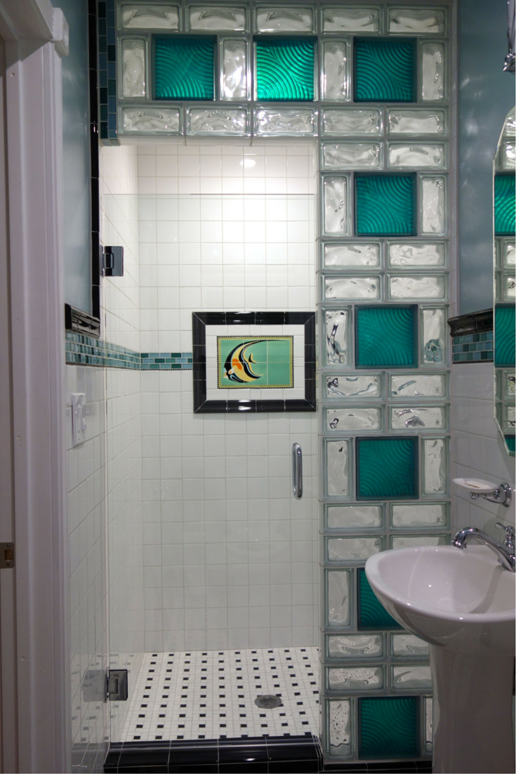 Catalina mosaic tile was the focal point of this san diego colored glass block shower design