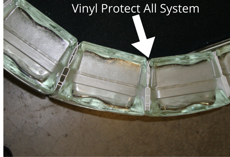 Vinyl protect all glass block fabrication and installation system