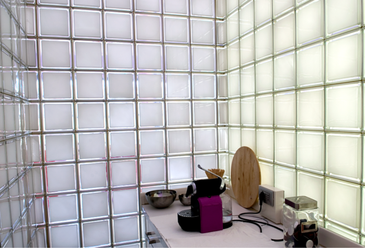 clear glass block window with a satin frosted exterior surface for privacy