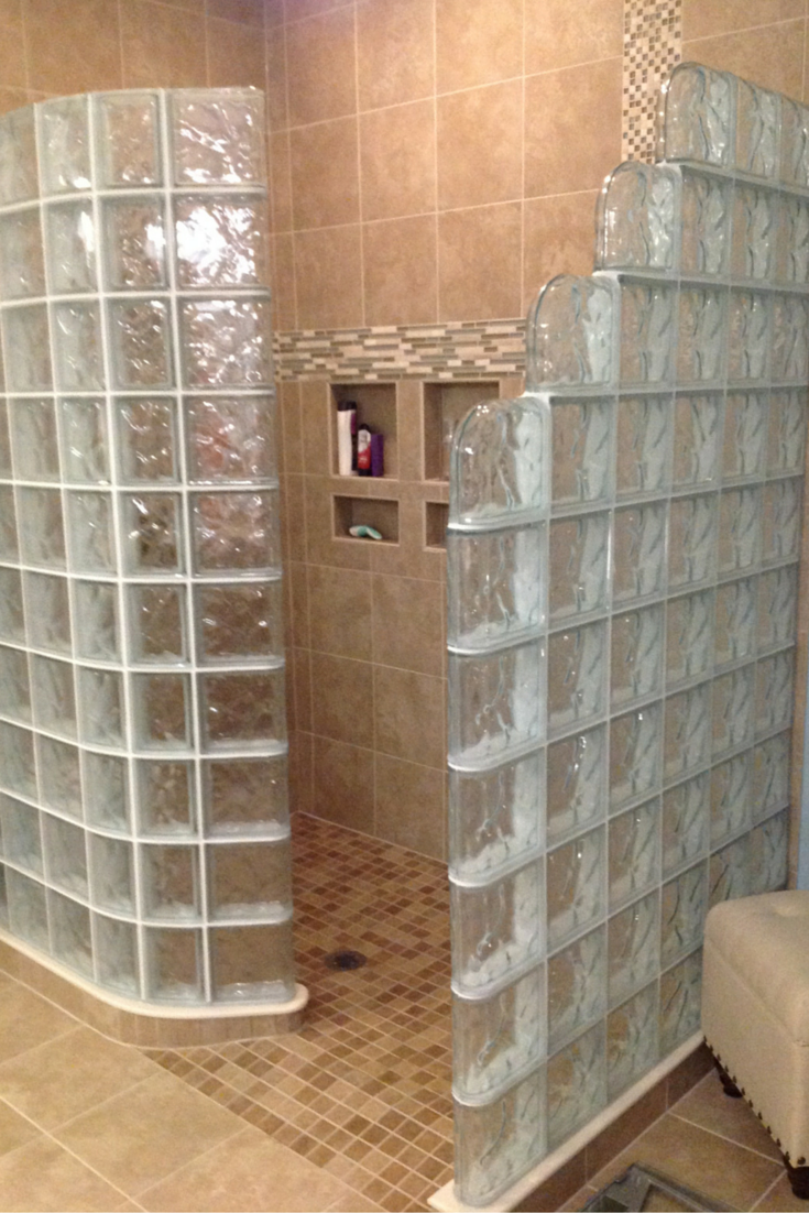 Glass block shower with a ready for tie pan for easy installation