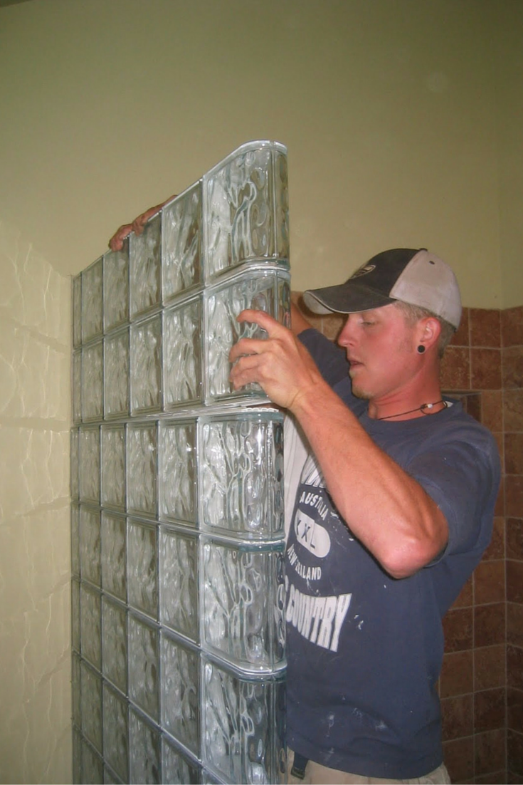 Premade glass block shower wall sections for easy installation