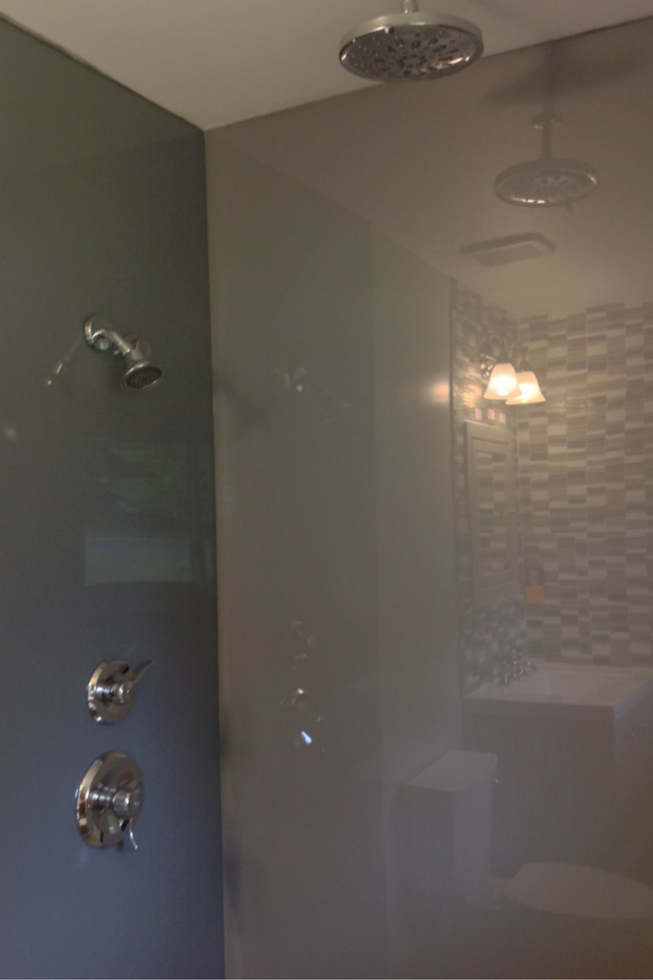 grey colored high gloss shower wall surround panels in columbus ohio