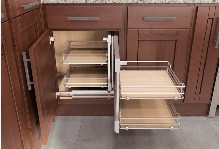 kitchen cabinet storage with multiple pull out shelves for extra storage