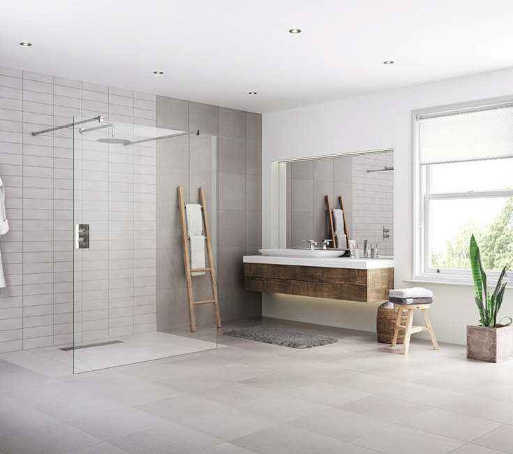 one level European wet room system for accessibility