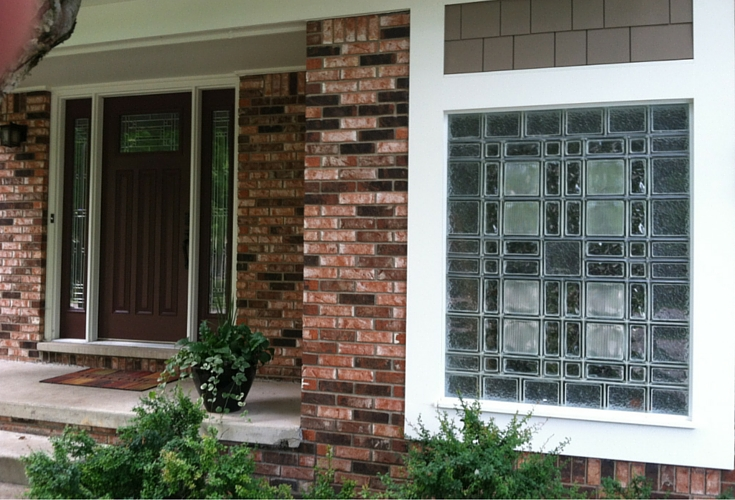 different glass block sizes and textures in a prarie style glass block window in michigan